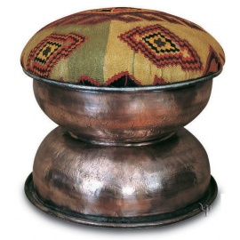 Kilim and Old Copper Ottoman