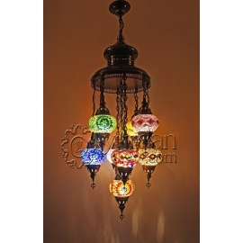 Mosaic Chandelier with 9 Globes