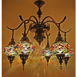 Mosaic Chandelier with 6 Globes