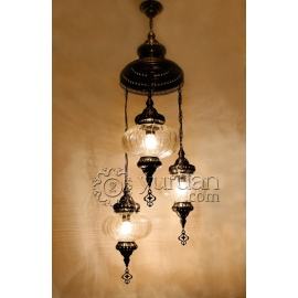 Ottoman Chandelier with 3 Pyrex Globes