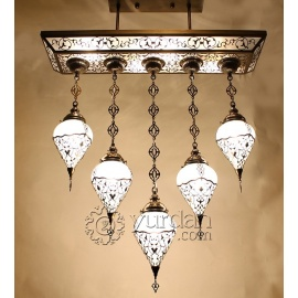 Ottoman Chandelier with 5 Globes