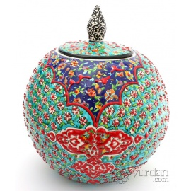 Iznik Design Ceramic Jar - Tezhip with Tulip