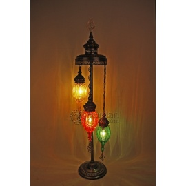 Ottoman Floor Lamp with 3 Pyrex Globes