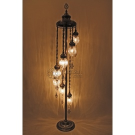 Ottoman Floor Lamp with 7 Pyrex Globes