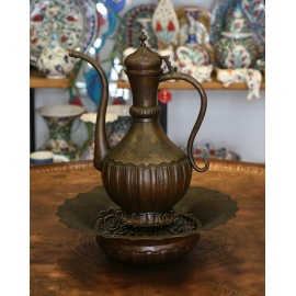 Old Ottoman Copper Ewer with Plate