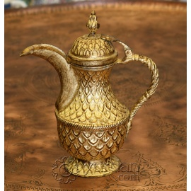 Turkish Gilded Copper Pitcher