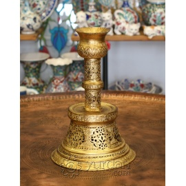 Turkish Gilded Copper Candlestick