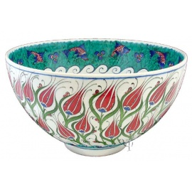 Iznik Design Ceramic Bowl - Lale and Balik