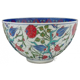 Iznik Design Ceramic Bowl - Lale and Karanfil and Cintemani