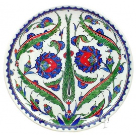 Iznik Design Ceramic Plate - Pomegranate Flower