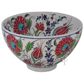 Iznik Design Ceramic Bowl - Tulip and Carnation