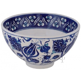 Iznik Design Ceramic Bowl - Tulip Carnation and Cintemani