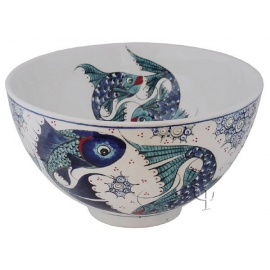 Iznik Design Ceramic Bowl - Fish