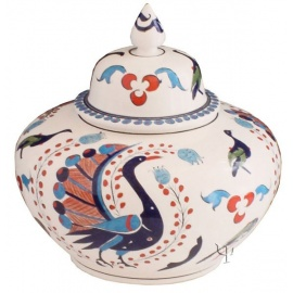 Iznik Design Ceramic Jar - Peacock