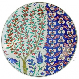 Iznik Design Ceramic Plate - Olive Tree and Cintemania