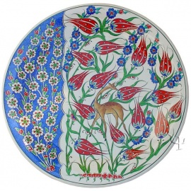 Iznik Design Ceramic Plate - Spring Flowers and Tulip