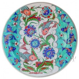 Iznik Design Ceramic Plate - Fish