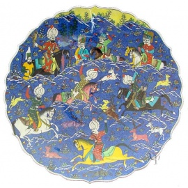 Iznik Design Ceramic Plate - Ottoman Soultan Hunting View