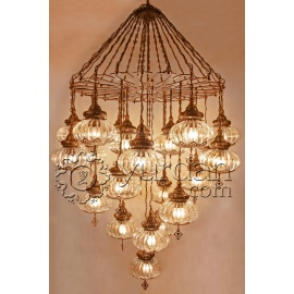 Ottoman Chandelier Lamp with 25 Pyrex Globes