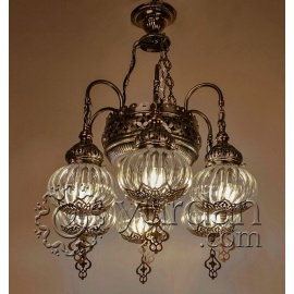 Ottoman Chandelier with six pyrex globes