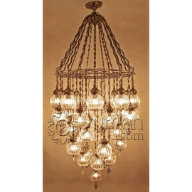 Ottoman Chandelier Lamp with 36 Pyrex Globes