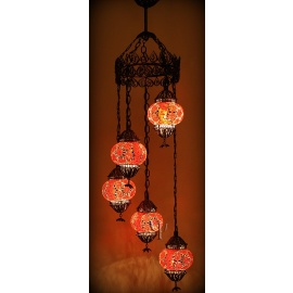 Mosaic Filigree Chandelier with 5 Globes