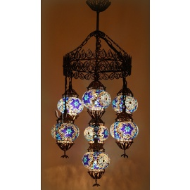 Mosaic Filigree Chandelier with 7 Globes