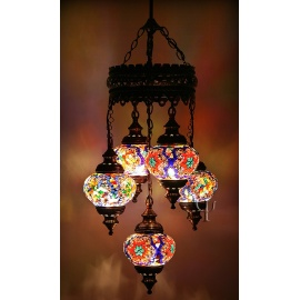 Mosaic Chandelier with 5 Globes