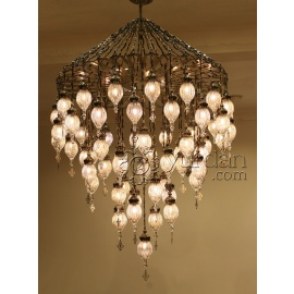 Pyrex Glass Ottoman Chandelier with 57 Globes- FREE SHIPPING
