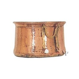 Turkish Copper Flower - Pot with Cauldron Handles (Medium)