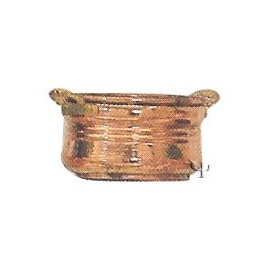 Turkish Copper Oval Flower - Pot with Handles (Medium)
