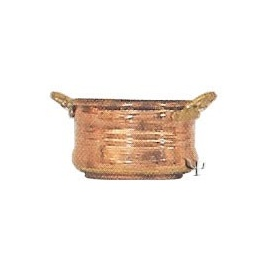 Turkish Copper Oval Flower - Pot with Handles (Small)