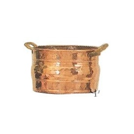 Turkish Copper Marash Round Planter with Handles (Large)