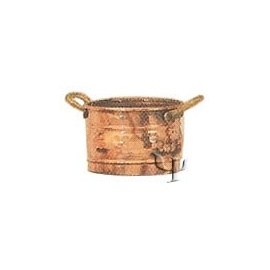 Turkish Copper Marash Round Planter with Handles (Small)
