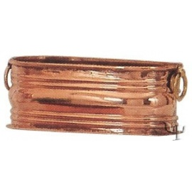 Turkish Copper Oval Planter with Rings (Medium)