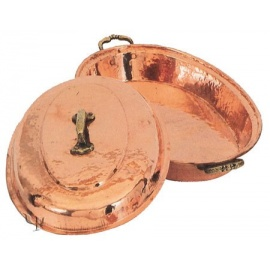 Turkish Copper Oval Food Dish with a Lid