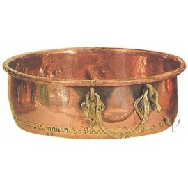 Turkish Copper Round Basin with Brass Handles (No: 4)