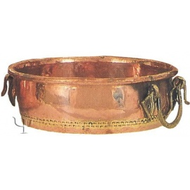 Turkish Copper Round Basin with Brass Handles (No: 3)