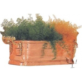Turkish Copper Rectangular Planter with Handles (Small)
