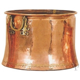 Turkish Copper Cauldron with Brass Handles