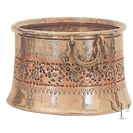 Turkish Copper Nickel Plated Repousse Copper Cauldron (No: 4)