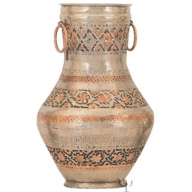Turkish Copper Nickel Plated Jar with Rings