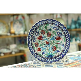 Iznik Design Ceramic Plate - Tulip and Carnation