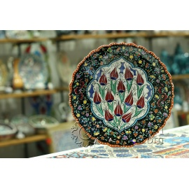 Iznik Design Ceramic Plate -Tezhip and Tulip