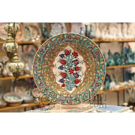 Iznik Design Ceramic Plate - Tezhip with Tulip and Carnation