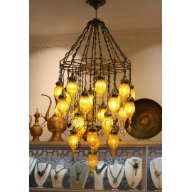 Pyrex Glass Ottoman Chandelier with 25 Globes - FREE SHIPPING