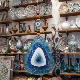 Turkish Evil Eye - Glass Wall Hanging