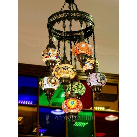 Mosaic Chandelier with 9 Globes - FREE SHIPPING