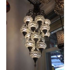 Mosaic Chandelier with 19 Globes