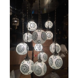Mosaic Chandelier with 12 Globes - FREE SHIPPING